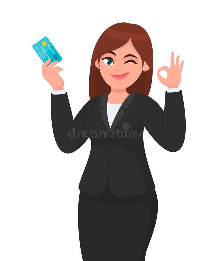Demostración profesional de la mujer de negocios/celebrar la tarjeta de actividades bancarias del crédito/debit/ATM y gesticular/ stock de ilustración