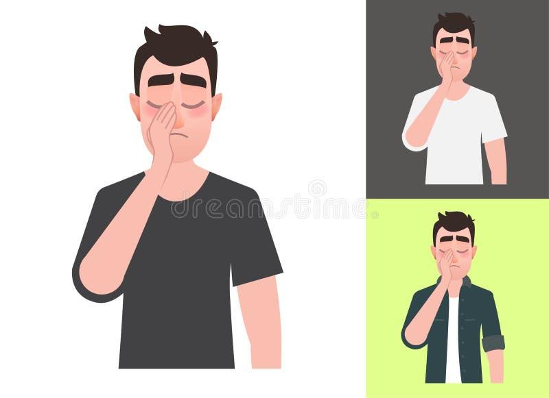 Demostración triste del hombre un facepalm del gesto stock de ilustración