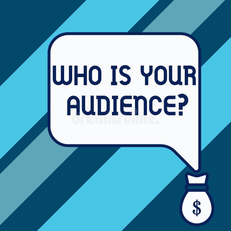 Demostraci?n conceptual de la escritura de la mano que es su pregunta de la audiencia Exhibici?n de la foto del negocio qui?n es  libre illustration