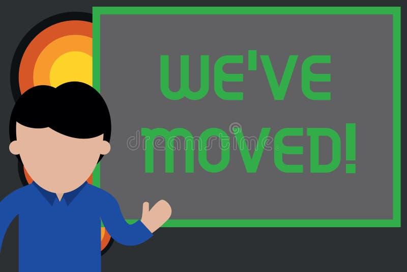 Demostraci?n de la muestra del texto que VE nos movimos La foto conceptual a ir a partir de una residencia o la ubicación a otra  stock de ilustración