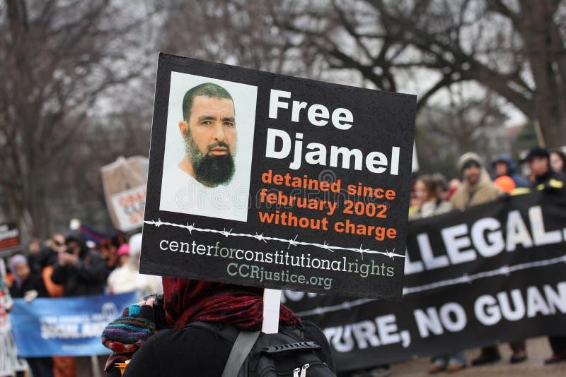 Demostraciones cercanas de Guantánamo fotografía de archivo libre de regalías