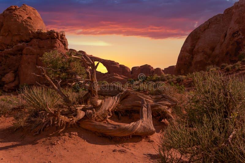 Demostraciones de la puesta del sol a través de un arco natural de la piedra arenisca imagen de archivo libre de regalías