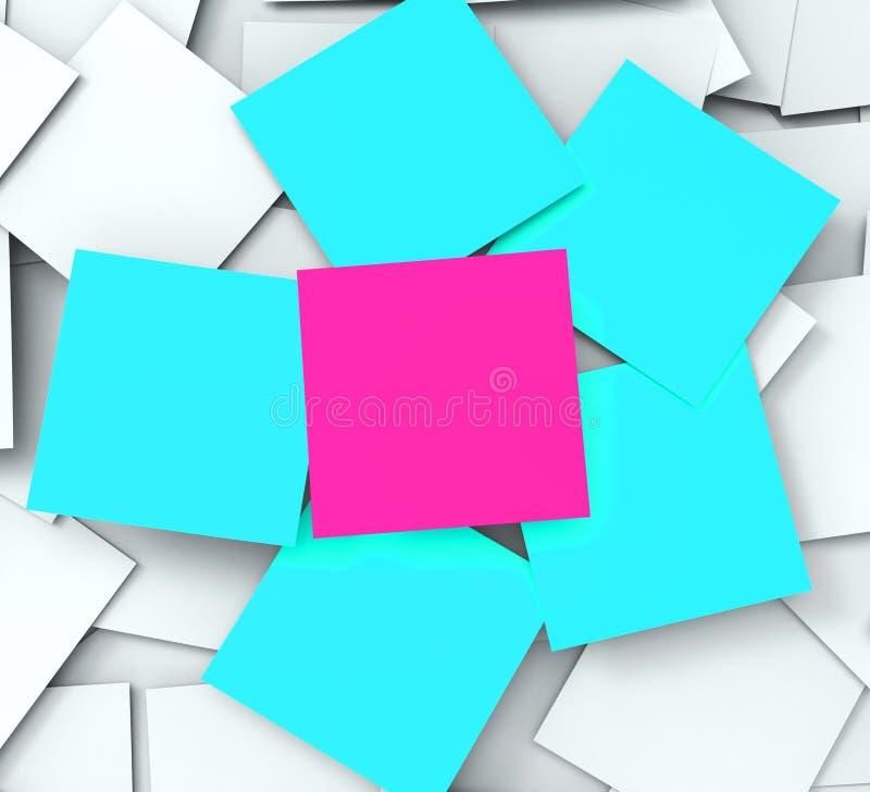 Demostraciones en blanco Copyspace de los mensajes del post-it a hacer y a observar libre illustration