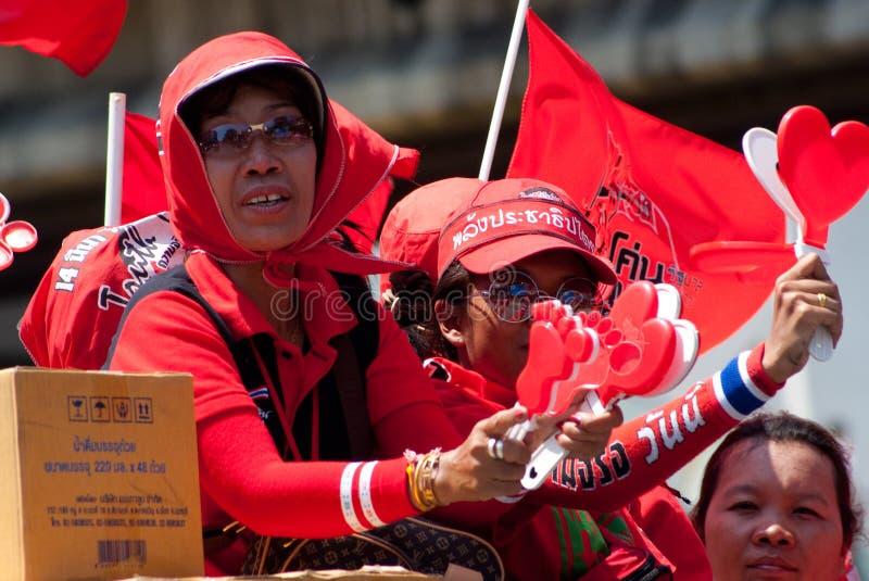 Demostraciones rojas de la camisa en Bangkok 2010 imagen de archivo