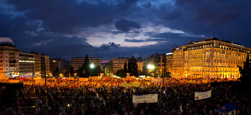 demostration do #stopausterity imagens de stock royalty free