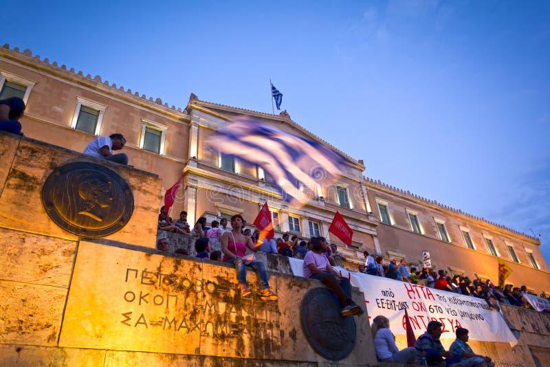 demostration do #stopausterity imagens de stock