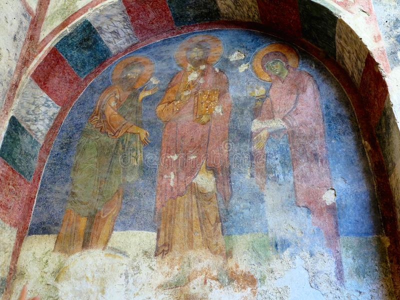 Demre, Turkey - July 2, 2019: Ancient frescoes in St. Nicholas Byzantine Greek Church in Demre, Turkey royalty free stock image
