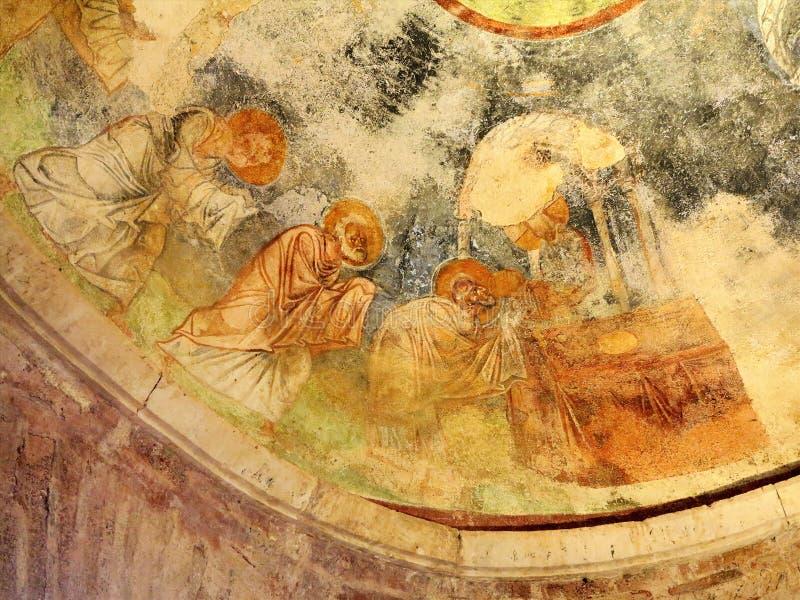 Demre, Turquie - 2 juillet 2019 : Fresques antiques dans St Nicholas Byzantine Greek Church dans Demre, Turquie photos libres de droits