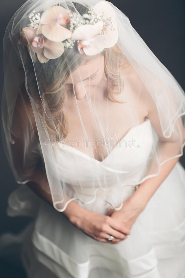 Demure bride with her veil over her face stock image