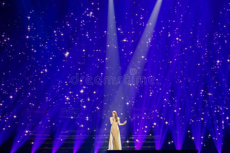 Demy from Greece Eurovision 2017. KYIV, UKRAINE - MAY 12, 2017: Demy from Greece at the Grand Final rehearsal during Eurovision Song Contest, in Kyiv, Ukraine stock photography