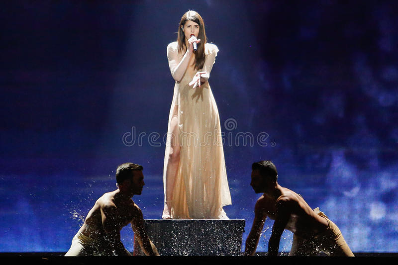 Demy from Greece Eurovision 2017. KYIV, UKRAINE - MAY 12, 2017: Demy from Greece at the Grand Final rehearsal during Eurovision Song Contest, in Kyiv, Ukraine stock image