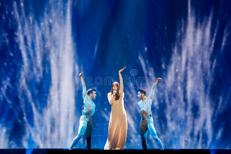 Demy from Greece Eurovision 2017. KYIV, UKRAINE - MAY 12, 2017: Demy from Greece at the Grand Final rehearsal during Eurovision Song Contest, in Kyiv, Ukraine stock images