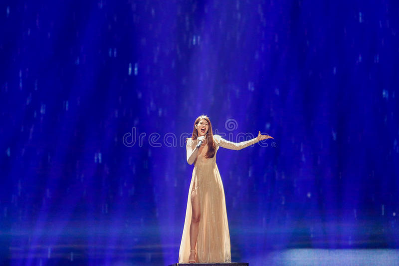 Demy from Greece Eurovision 2017. KYIV, UKRAINE - MAY 12, 2017: Demy from Greece at the Grand Final rehearsal during Eurovision Song Contest, in Kyiv, Ukraine royalty free stock photo