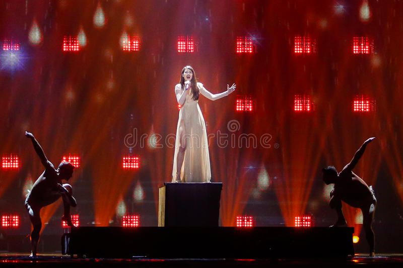 Demy from Greece Eurovision 2017. KYIV, UKRAINE - MAY 12, 2017: Demy from Greece at the Grand Final rehearsal during Eurovision Song Contest, in Kyiv, Ukraine stock photos