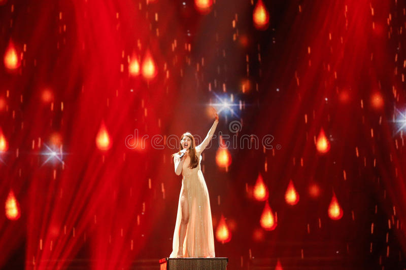Demy from Greece Eurovision 2017. KYIV, UKRAINE - MAY 12, 2017: Demy from Greece at the Grand Final rehearsal during Eurovision Song Contest, in Kyiv, Ukraine stock photo