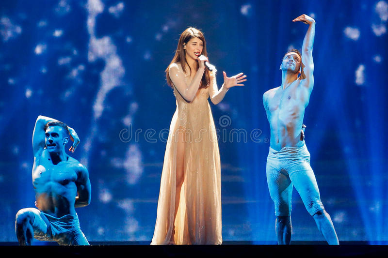 Demy from Greece Eurovision 2017. KYIV, UKRAINE - MAY 12, 2017: Demy from Greece at the Grand Final rehearsal during Eurovision Song Contest, in Kyiv, Ukraine royalty free stock image