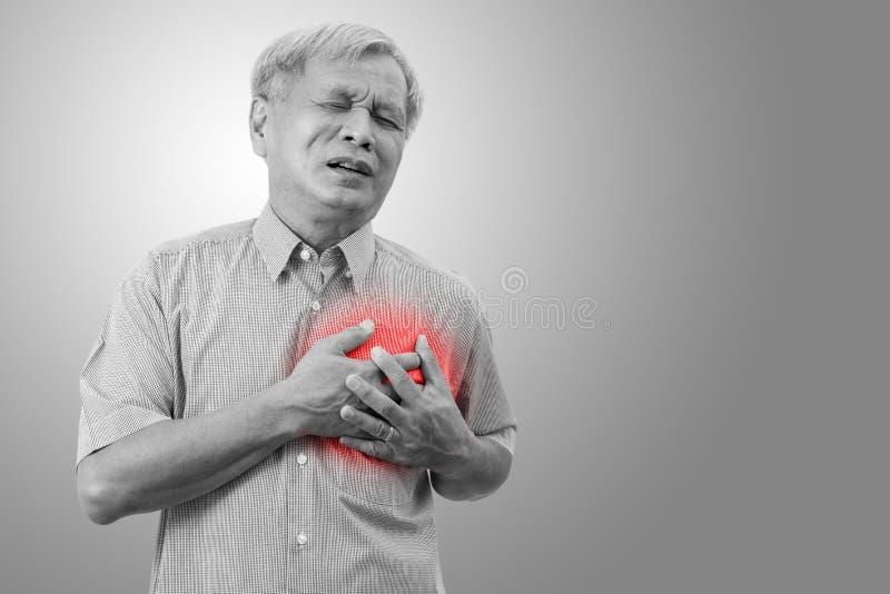 Den äldre asiatiska mannen som griper och har bröstkorgen, smärtar orsak från hjärtinfarkt fotografering för bildbyråer