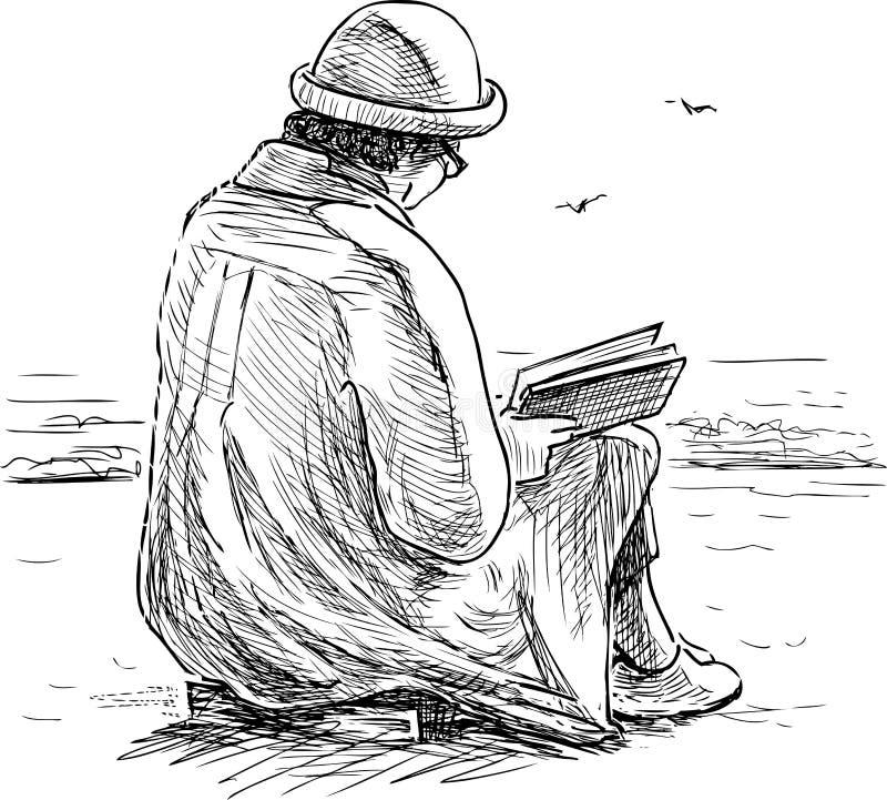 Den äldre kvinnan läser en bok på kusten royaltyfri illustrationer