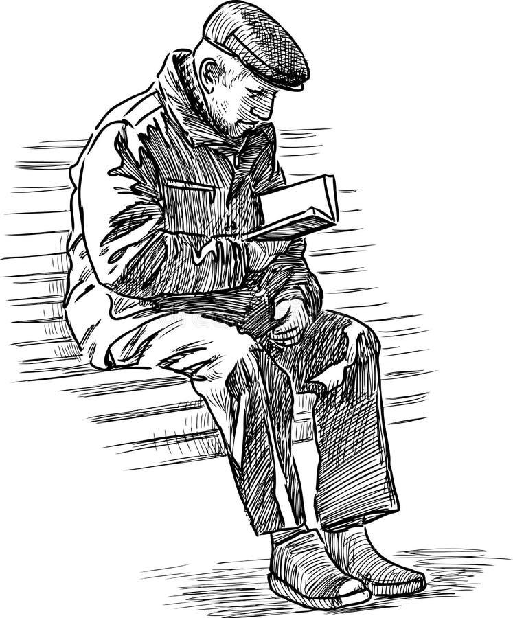 den äldre mannen läser en bok stock illustrationer