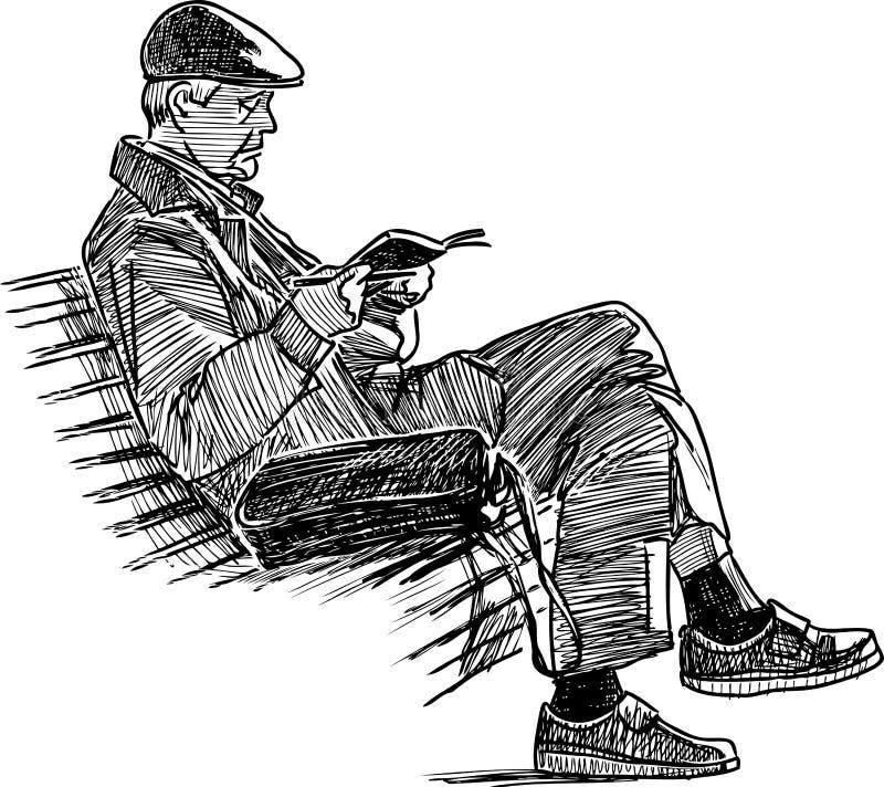 Den äldre mannen läser en bok på en parkerabänk stock illustrationer