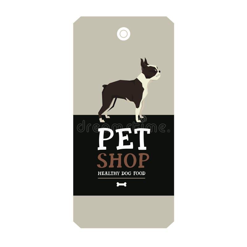 Den älsklings- affischen shoppar illustrationen Boston Terrier för designetikettvektorn stock illustrationer