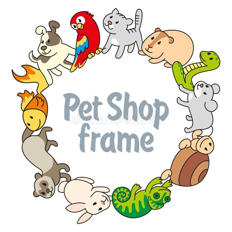 Den älsklings- ramen shoppar, typer av husdjur stock illustrationer