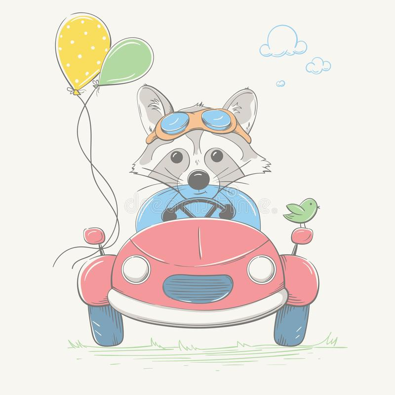 Den älskvärda gulliga tvättbjörnpojken kör bilen Ung racerbil med exponeringsglasen och färgballongerna Sommarserie av barns kort vektor illustrationer
