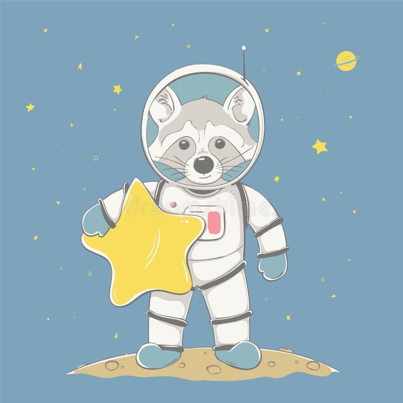 Den älskvärda gulliga tvättbjörnpojken rymmer stjärnan och ställningen på planeten i utrymme Utrymmeserie av barns kort stock illustrationer