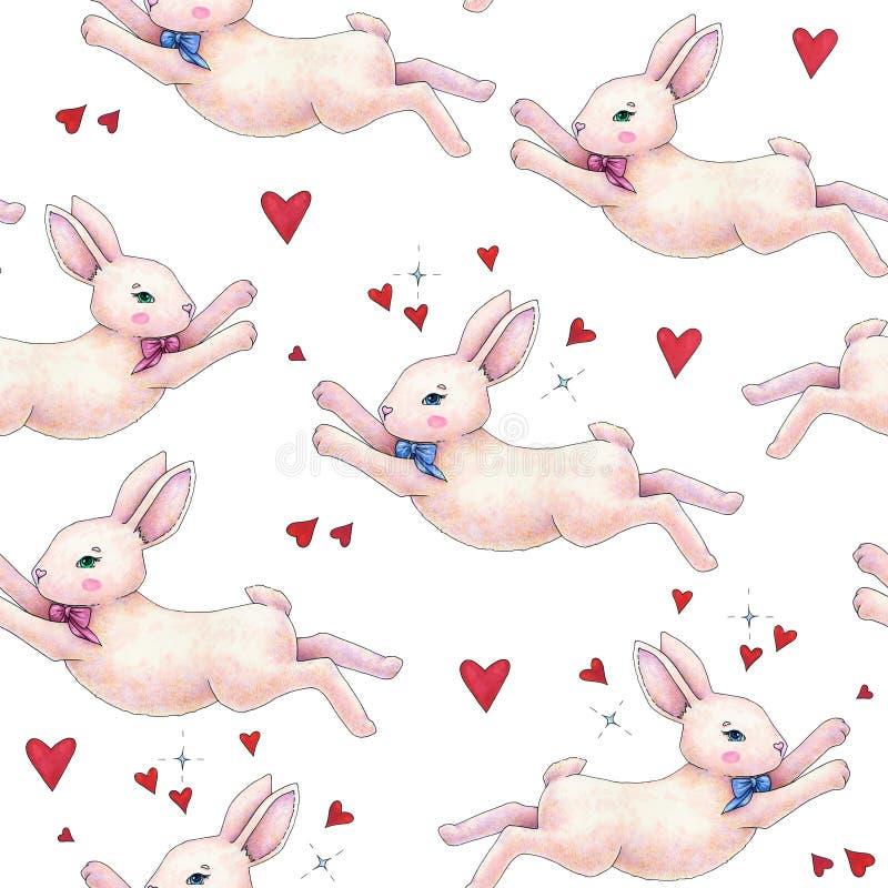 Den älskvärda rosa haren för animeringkaninkaninen med en förälskad pilbåge isoleras på en vit bakgrund Fantastisk teckning för b stock illustrationer