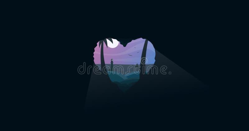 Den älskvärda sommarnatten hjärta formade grottan royaltyfri illustrationer