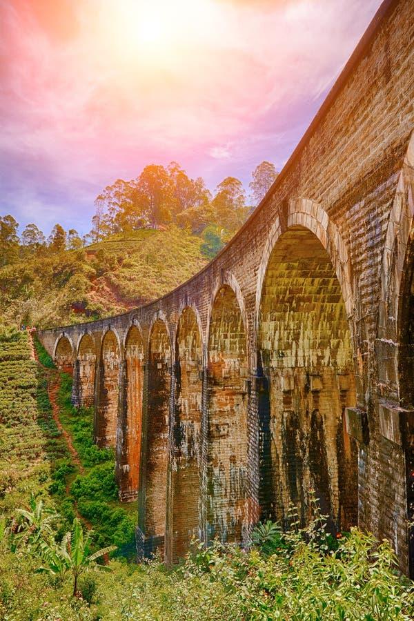Den ärke- bron för järnväg nio i Demodara, Sri Lanka royaltyfri fotografi