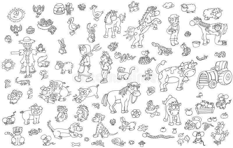 Den åkerbruk och matad, för svinhästkaniner för hönor för ägg lantgården och livsmedelsproduktion trycker på symboler för platser royaltyfri illustrationer