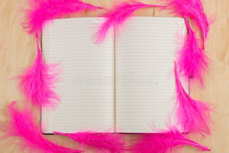 Den öppna anteckningsboken med vita sidor och rosa färger befjädrar på en träflik royaltyfri fotografi