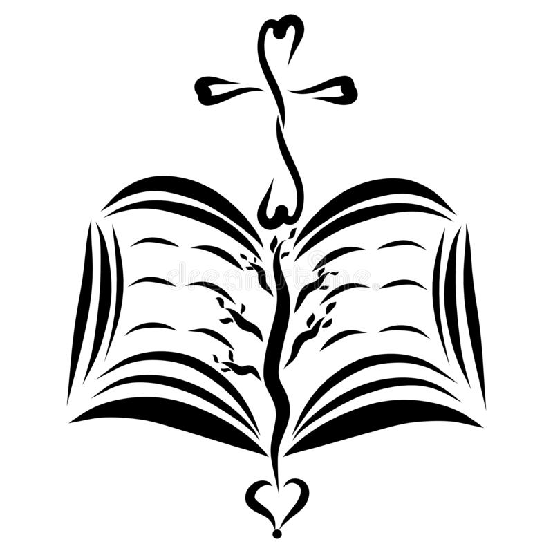 Den öppna bibeln, korset, hjärta och trädet, skissar royaltyfri illustrationer