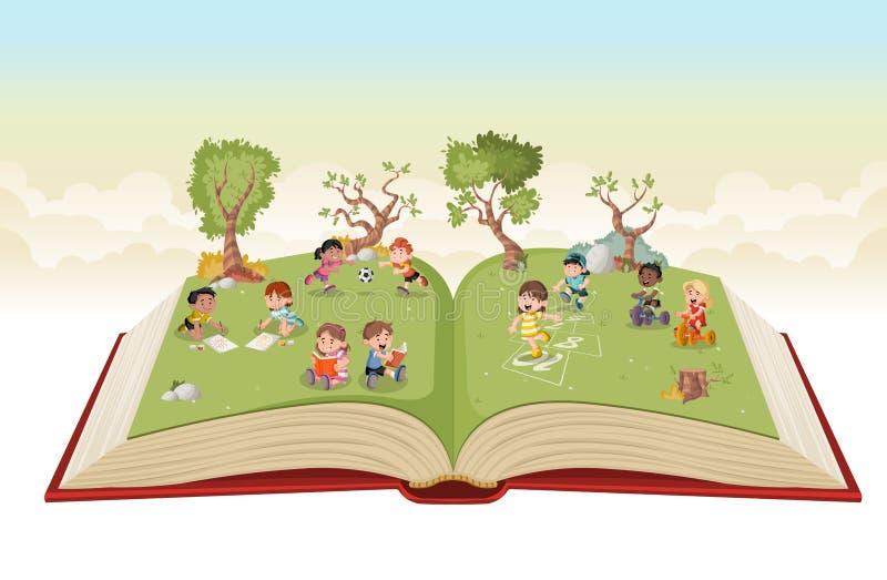 Den öppna boken med den gulliga tecknade filmen lurar att spela på gräsplan parkerar royaltyfri illustrationer