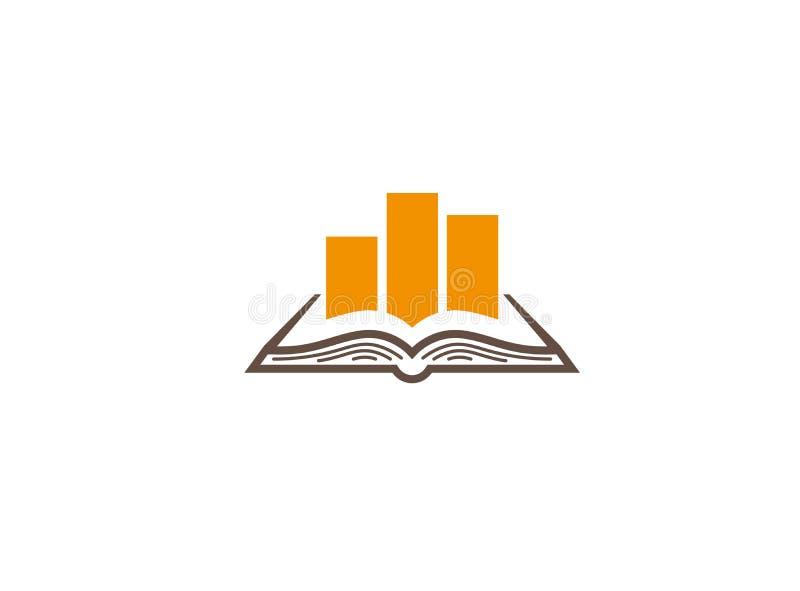 Den öppna boken med statistik kartlägger för logodesign vektor illustrationer