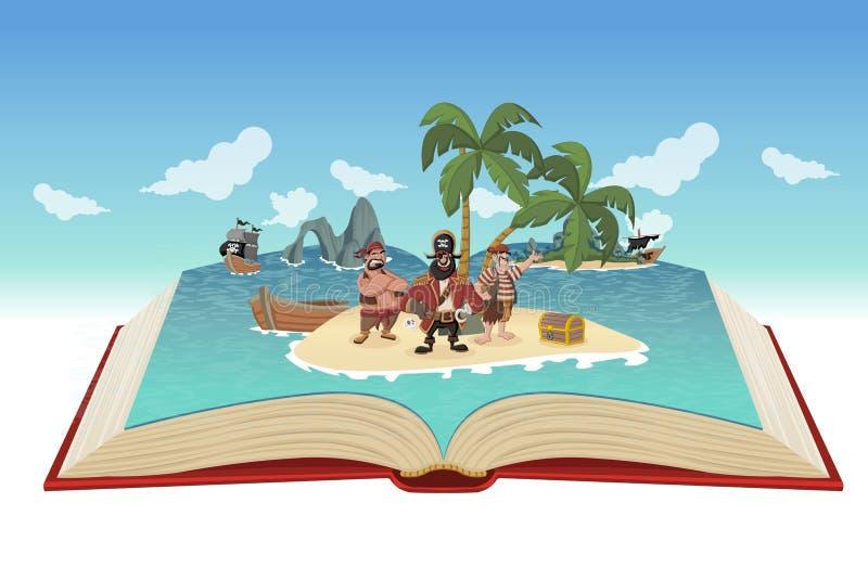 Den öppna boken med tecknade filmen piratkopierar vektor illustrationer