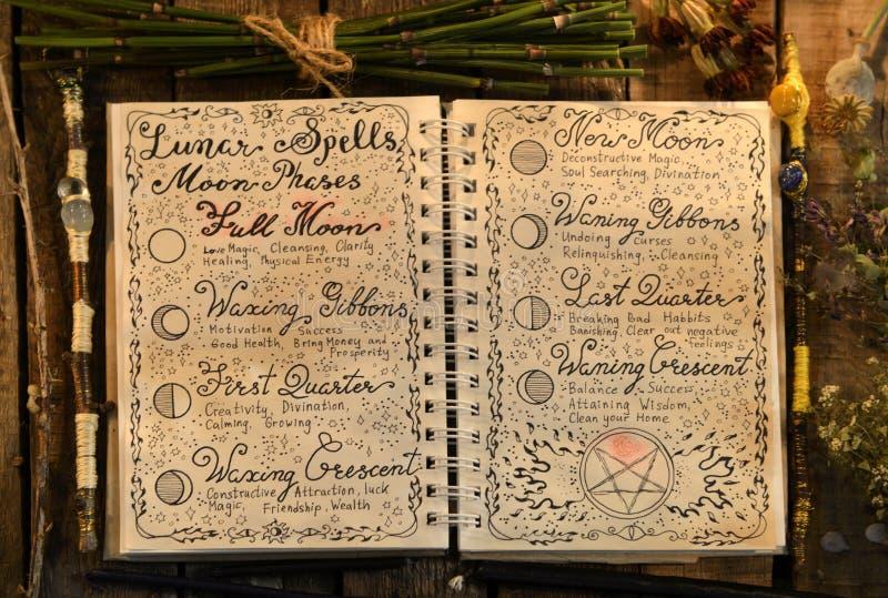 Den öppna häxaboken med mån- pass och trollspön i stearinljus tänder royaltyfri foto
