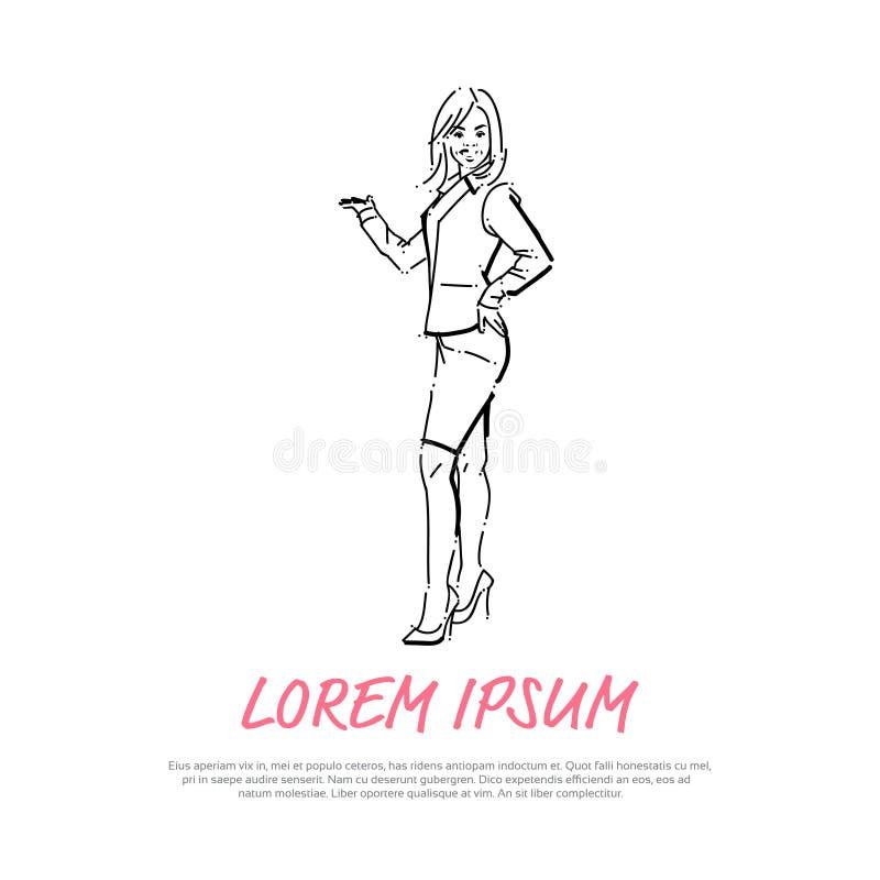 Den öppna hållen för affärskvinnan gömma i handflatan gestbegreppsaffärskvinnan som den fulla längden på den vita konturn för bak royaltyfri illustrationer