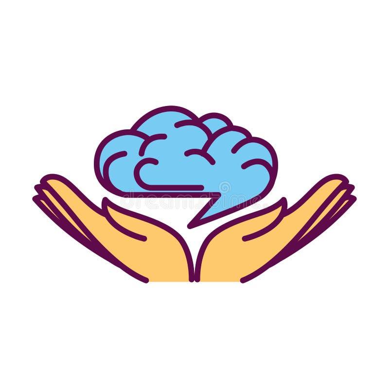 Den öppna handen gömma i handflatan med den mänskliga hjärnan över dem logodesign stock illustrationer