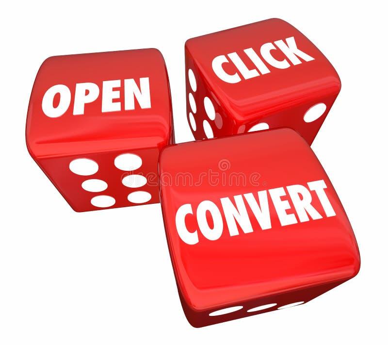 Den öppna klickomvändtärningen uttrycker marknadsföringen som annonserar 3d Illustrat vektor illustrationer