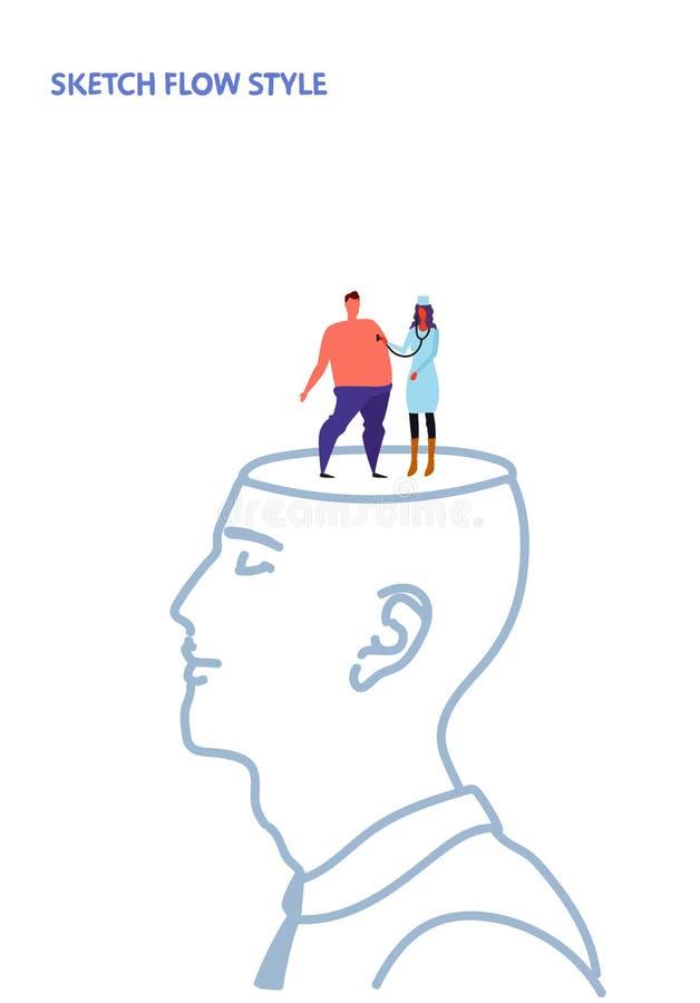 Den öppna kvinnliga medicinska doktorn för det mänskliga huvudet med begrepp för idé för idérik fantasi för andedräkt för stetosk royaltyfri illustrationer