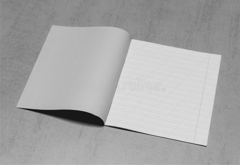 Den öppna skolaanteckningsboken i en smal linje med ett snedstreck för att lära stavning, förlöjligar upp med kopieringsutrymme p arkivbild