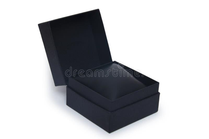 Den öppna svart gåvan boxas isolerat på vit royaltyfri foto