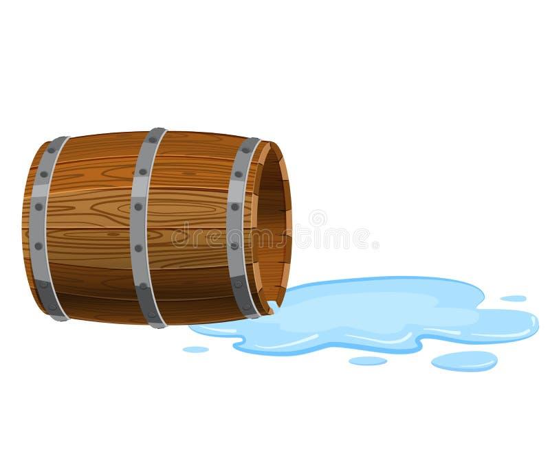 Den öppna trumman som ligger på jordningen, tömmer med spilld flytande, pöl, vektorn som isoleras på vit bakgrund, tecknad filmst stock illustrationer