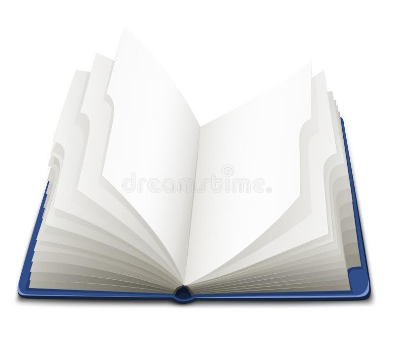 den öppnade blanka boken pages white vektor illustrationer