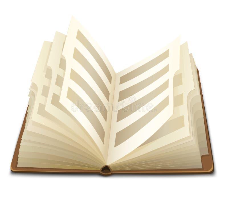 den öppnade boken pages text royaltyfri illustrationer