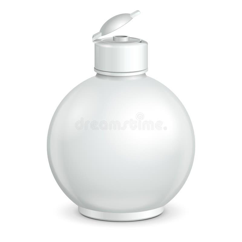 Den öppnade skönhetsmedlet eller flaskan för runda för hygiengråtonvit den plast- av stelnar, vätsketvål, lotion, kräm, schampo royaltyfri illustrationer