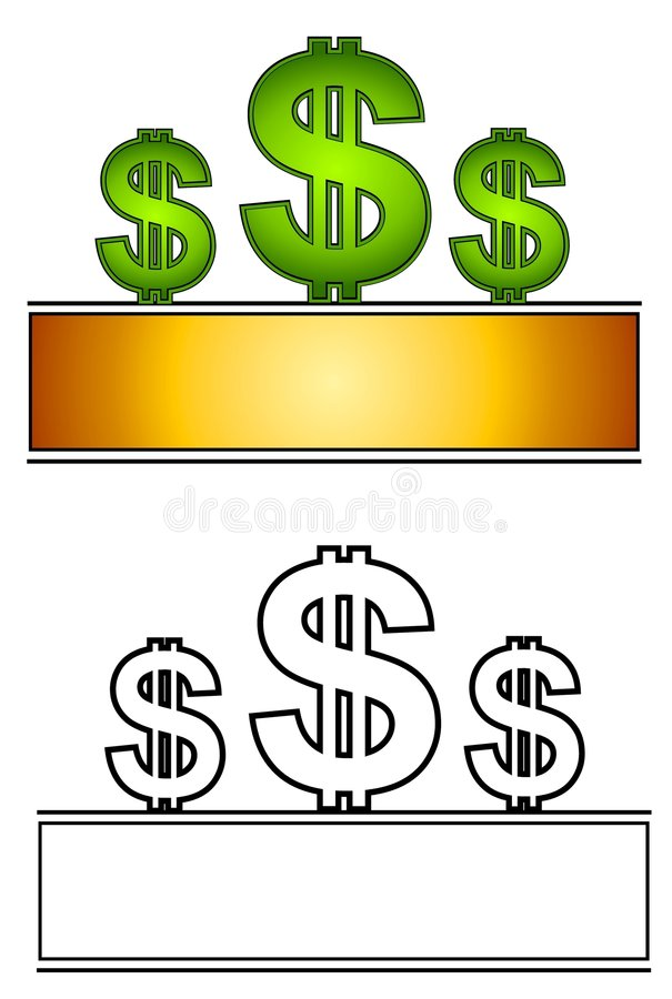 den 3 dollar logosidan undertecknar rengöringsduk stock illustrationer