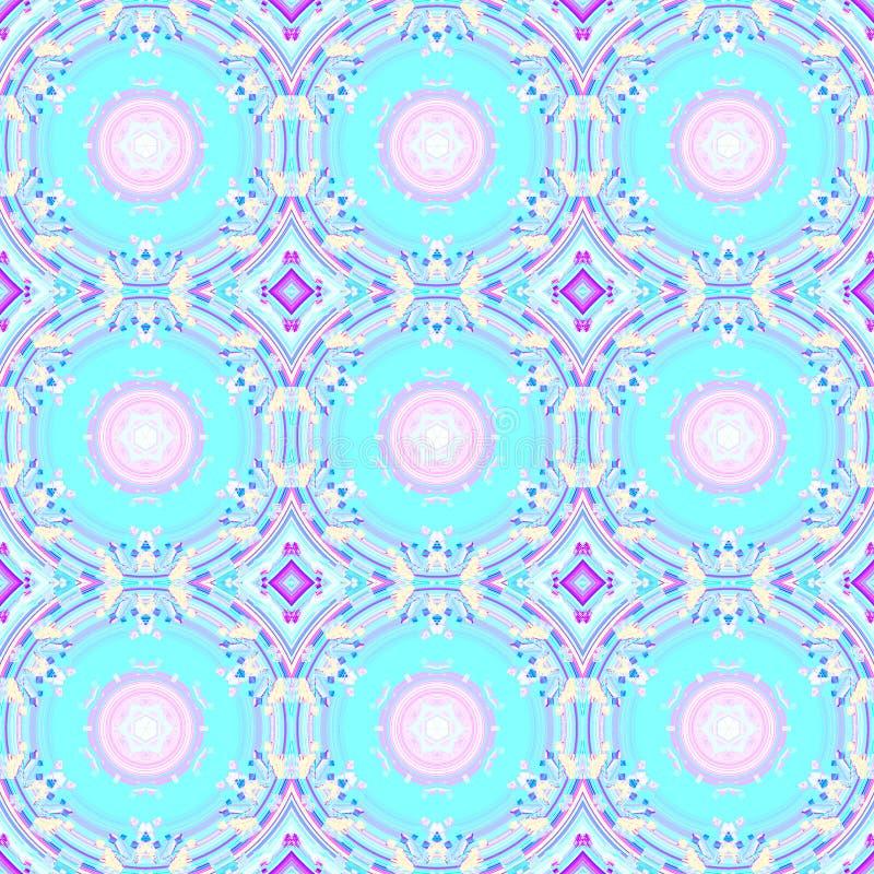 Den abstrakt begreppcirklar och diamanten mönstrar rosa violetta lilor för turkos royaltyfri illustrationer